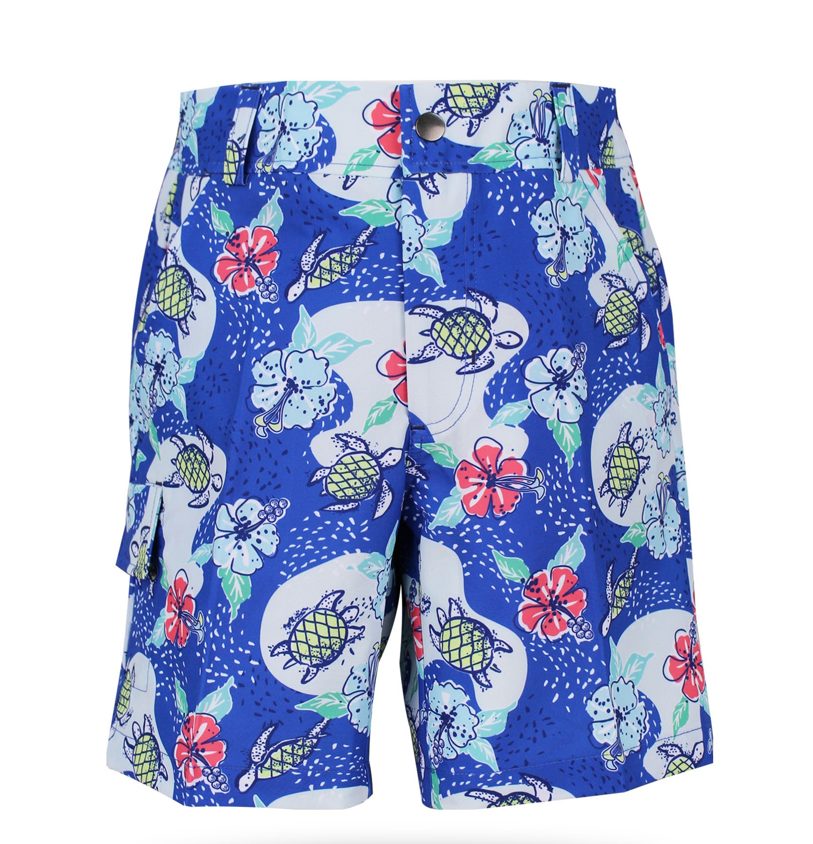 Conor Boy's Golf & Tennis Cargo Shorts in TurtlesOnCourse Print