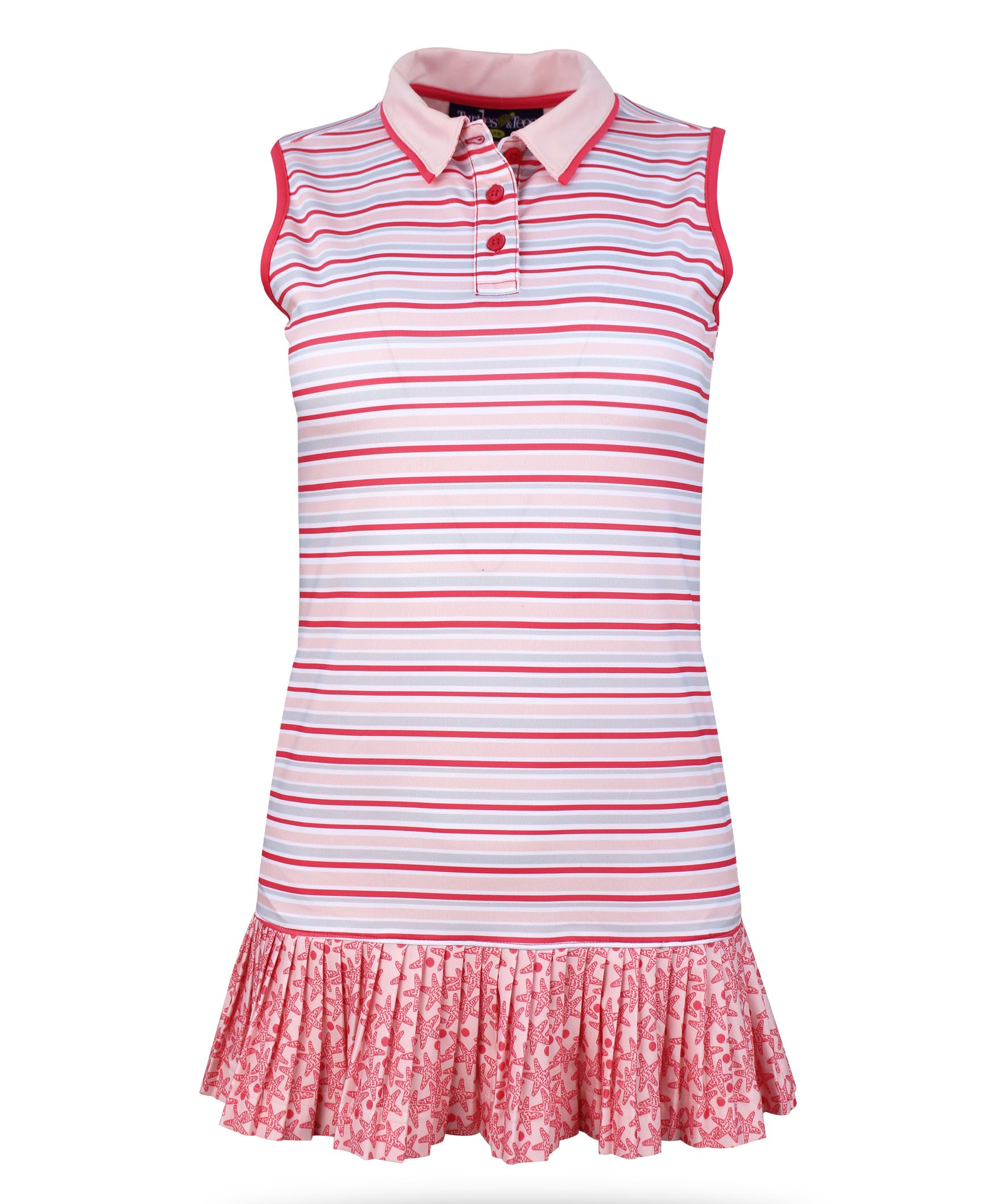 Kaye Ann Girl's Short Sleeve Golf and Tennis Dress in Pink Stripe Print w/Coordinating spandex shorts