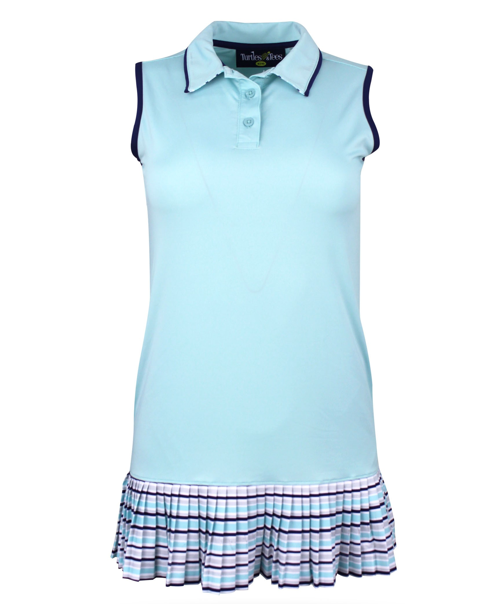 Kaye Ann Girl's Short Sleeve Golf and Tennis Dress in Turquoise Print w/Coordinating spandex shorts