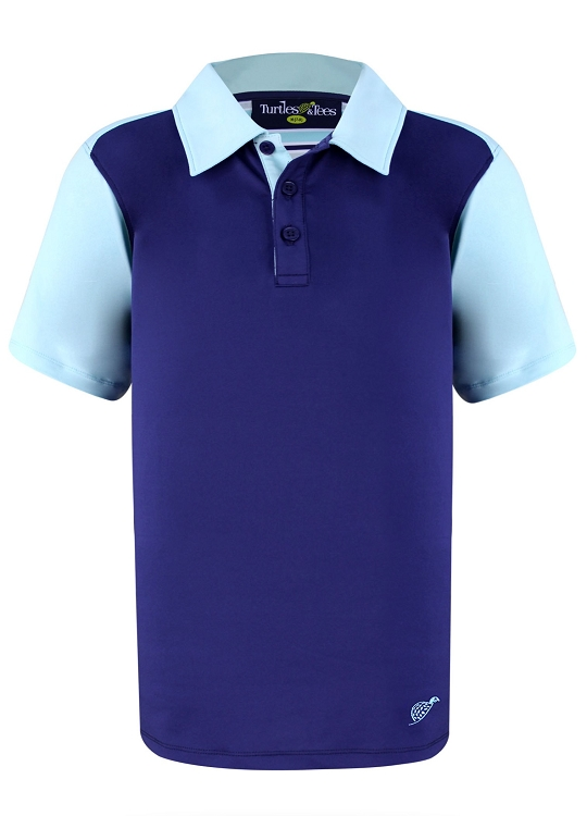 Boy's Polo in Navy with Turquoise Sleeves