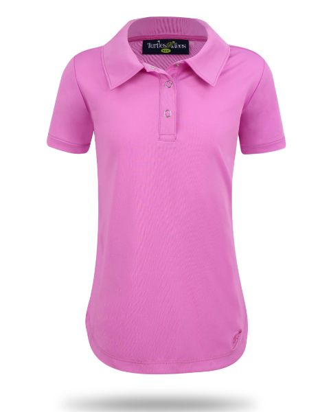 Girl's Cap Sleeve Performance Polo Pink