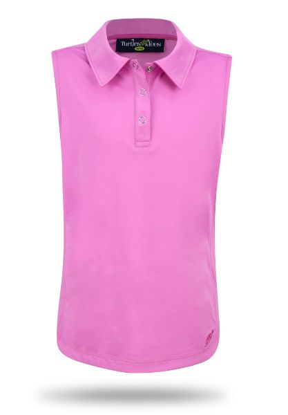 Girl's Sleeveless Performance Polo in Pink