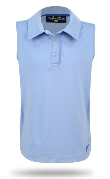 Girl's Sleeveless Performance Polo in Powder Blue
