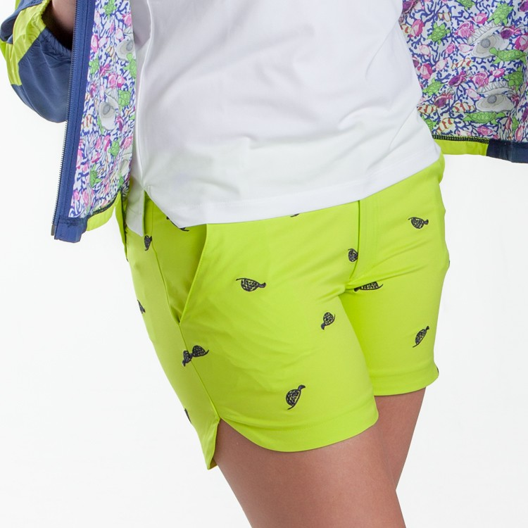 Cameron Shorts Lime Turtle Divots