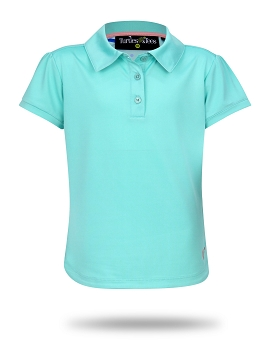 Cap Sleeve Polo-Jade with Monkey Love Print Trim