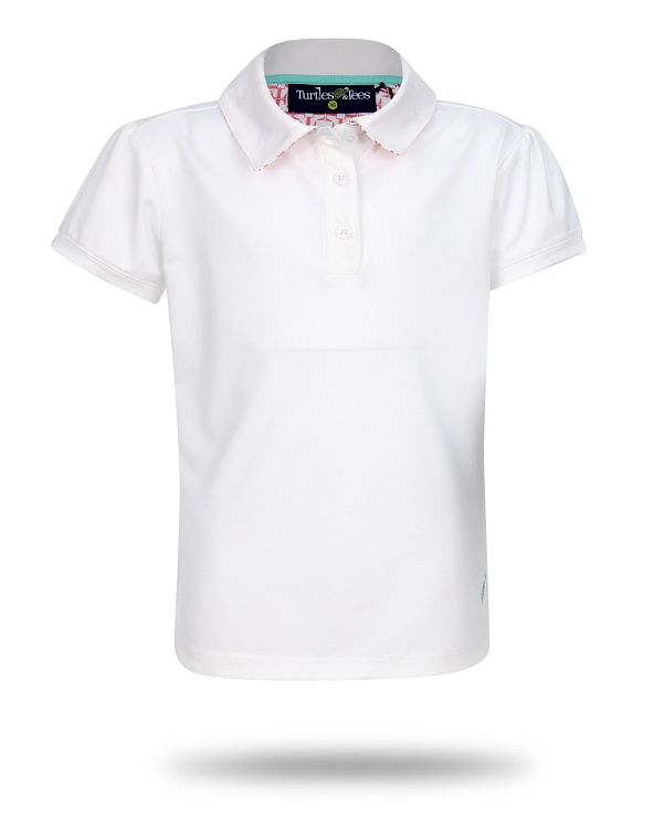 Cap Sleeve Polo-White with Salmon Tees Squared Print