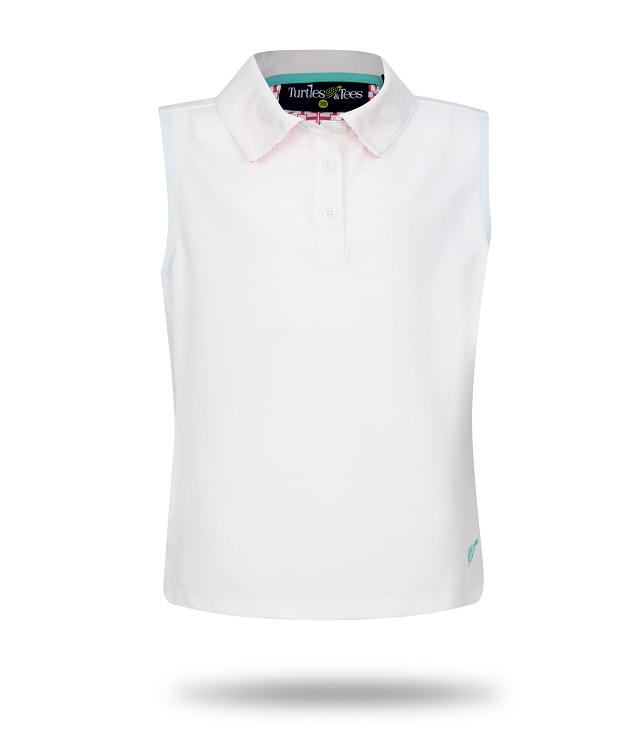 Sleeveless Polo-White with Salmon Tees Squared Print