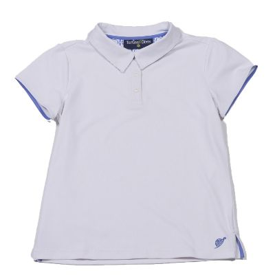 Cap Sleeve Polo White/Periwinkle Tee's Squared