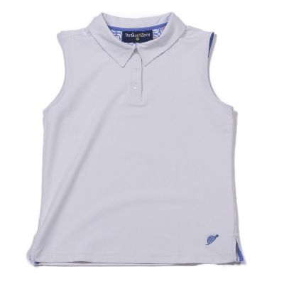 Sleeveless Polo White/Periwinkle Tee's Squared