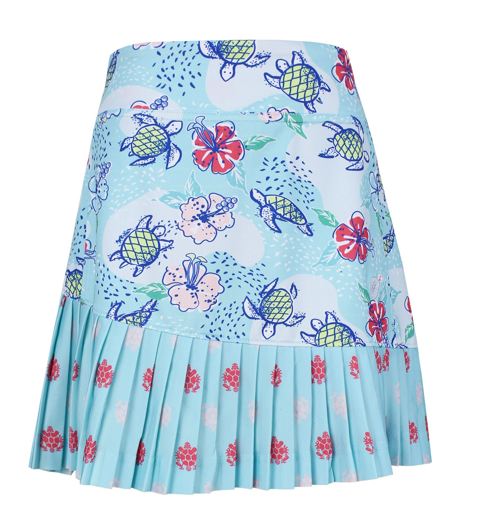 Charlee Accordion Pleated Girls's Golf & Tennis Skort in Turtles on Course Print