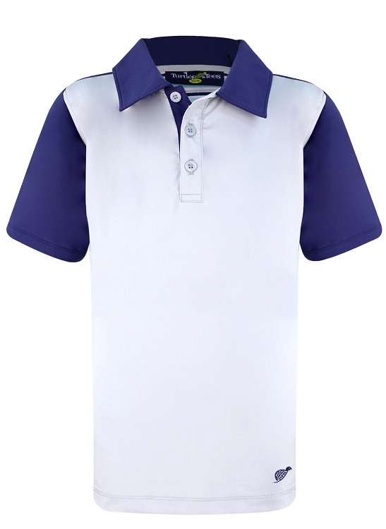 Boy's Polo - Grey with Navy Sleeve
