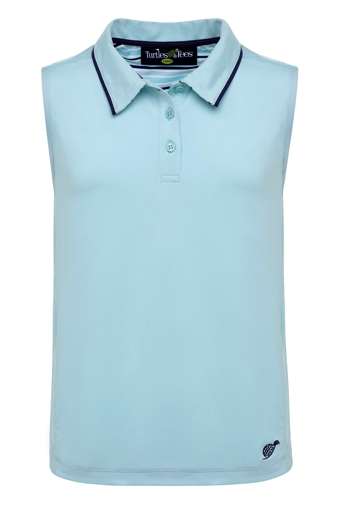 Girl's Sleeveless Polo Turquoise