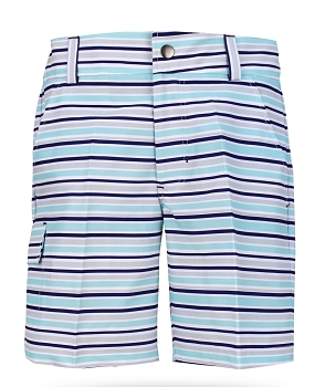 Conor Boy's Golf & Tennis Cargo Shorts in Blue Stripe Print