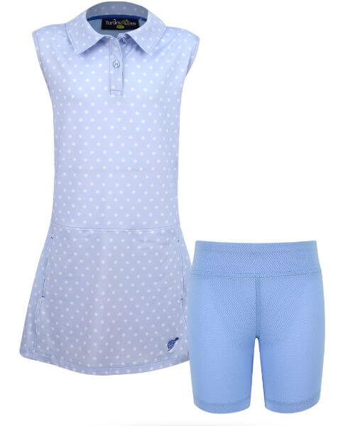 Adriene Girl's Golf and Tennis Dress in BlueHotDotty Print