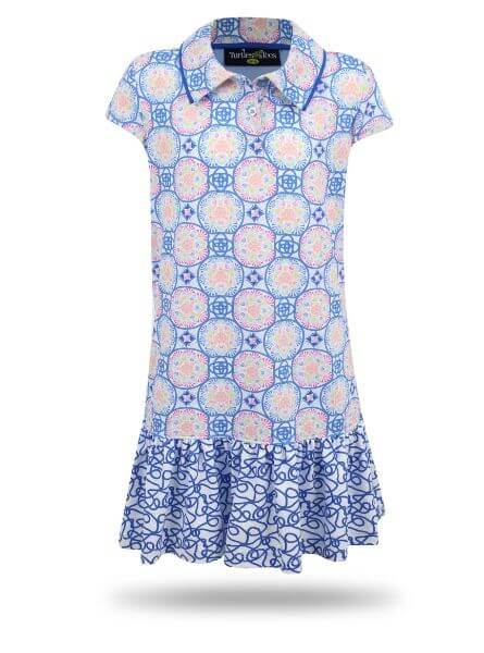 Avery Girl's Short Sleeve Golf and Tennis Dress in Blue Medalion Print