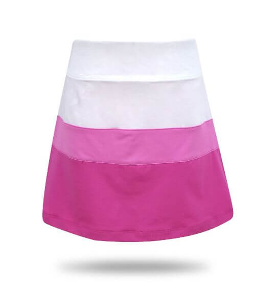 Ayla Colorblock  Girl's Golf & Tennis  Skort in Pink and White Print