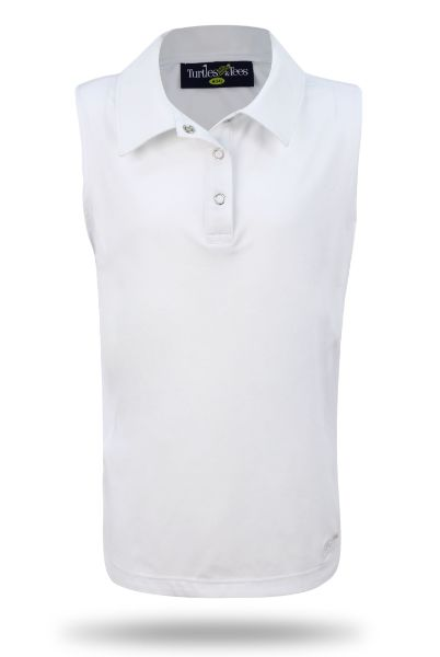 Girl's Sleeveless Performance Polo in White