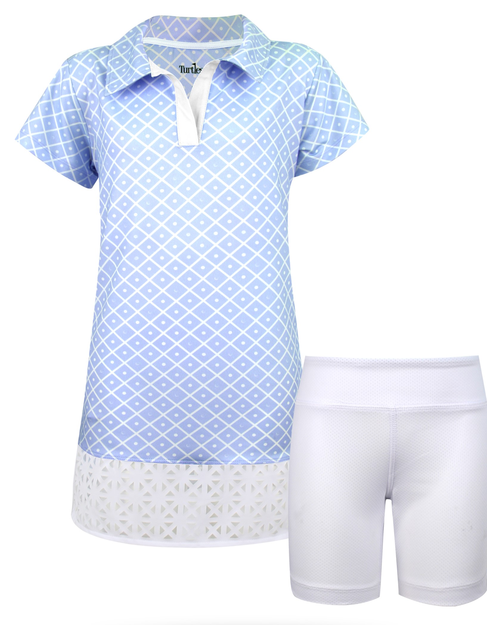 Charlotte Girls Short Sleeve Golf And Tennis Dress In Blue Diamond On The Green Print