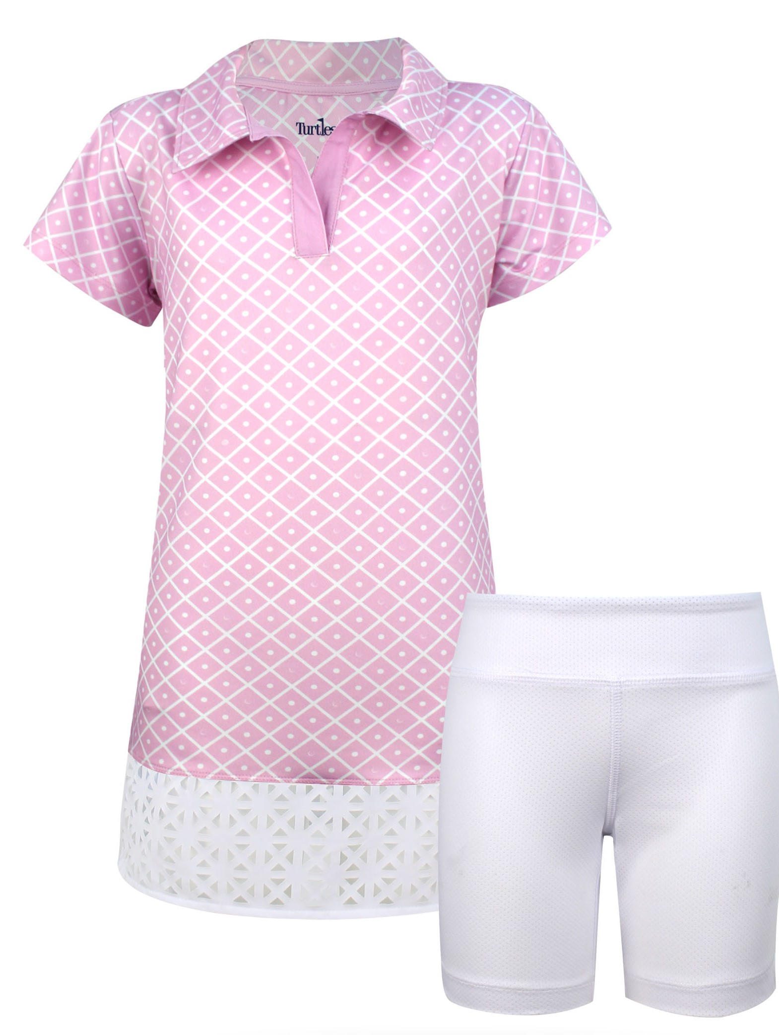 Charlotte Girls Short Sleeve Golf And Tennis Dress In Pink Diamond On The Green Print