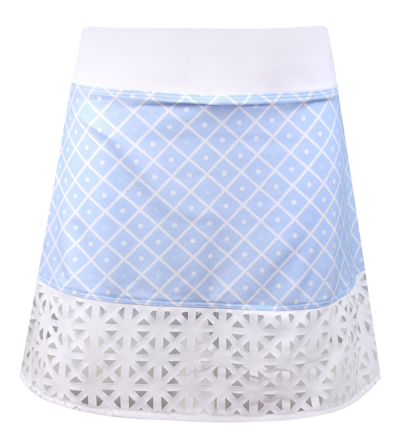 Evelyn Knit Girls Golf & Tennis Skort In Blue Diamond On The Green Print