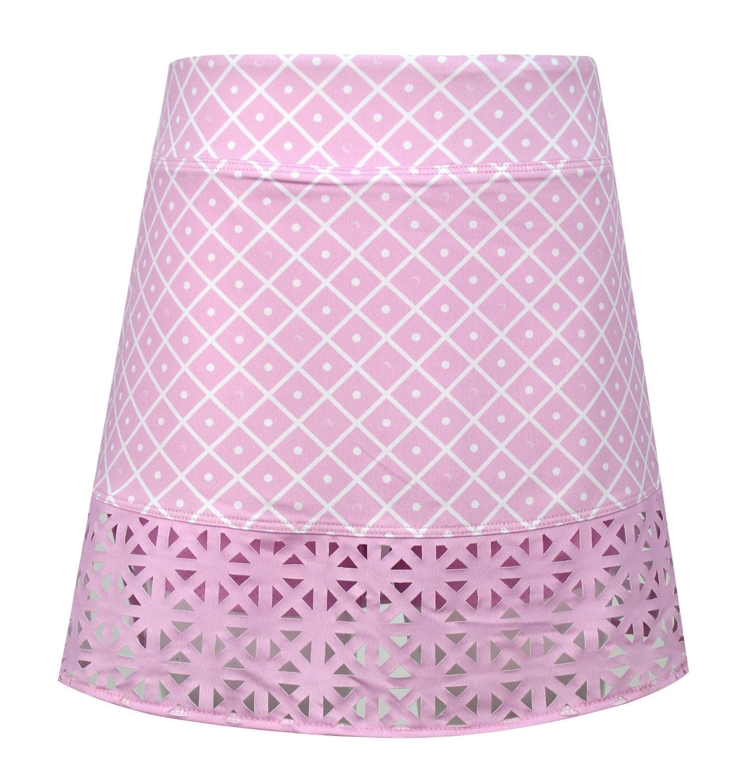 Evelyn Knit  Girls Golf & Tennis Skort In Pink Diamond On The Green Print
