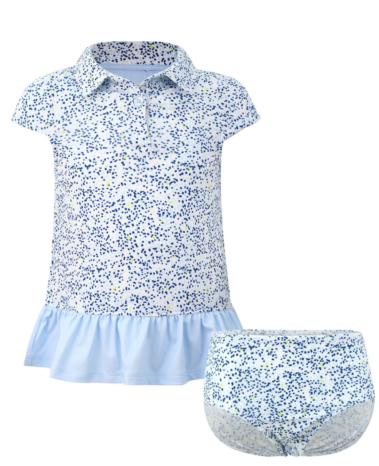 Avery Girls Short Sleeve Infant & Toddler  Golf And Tennis Dress In Blue Spot the Hole Print