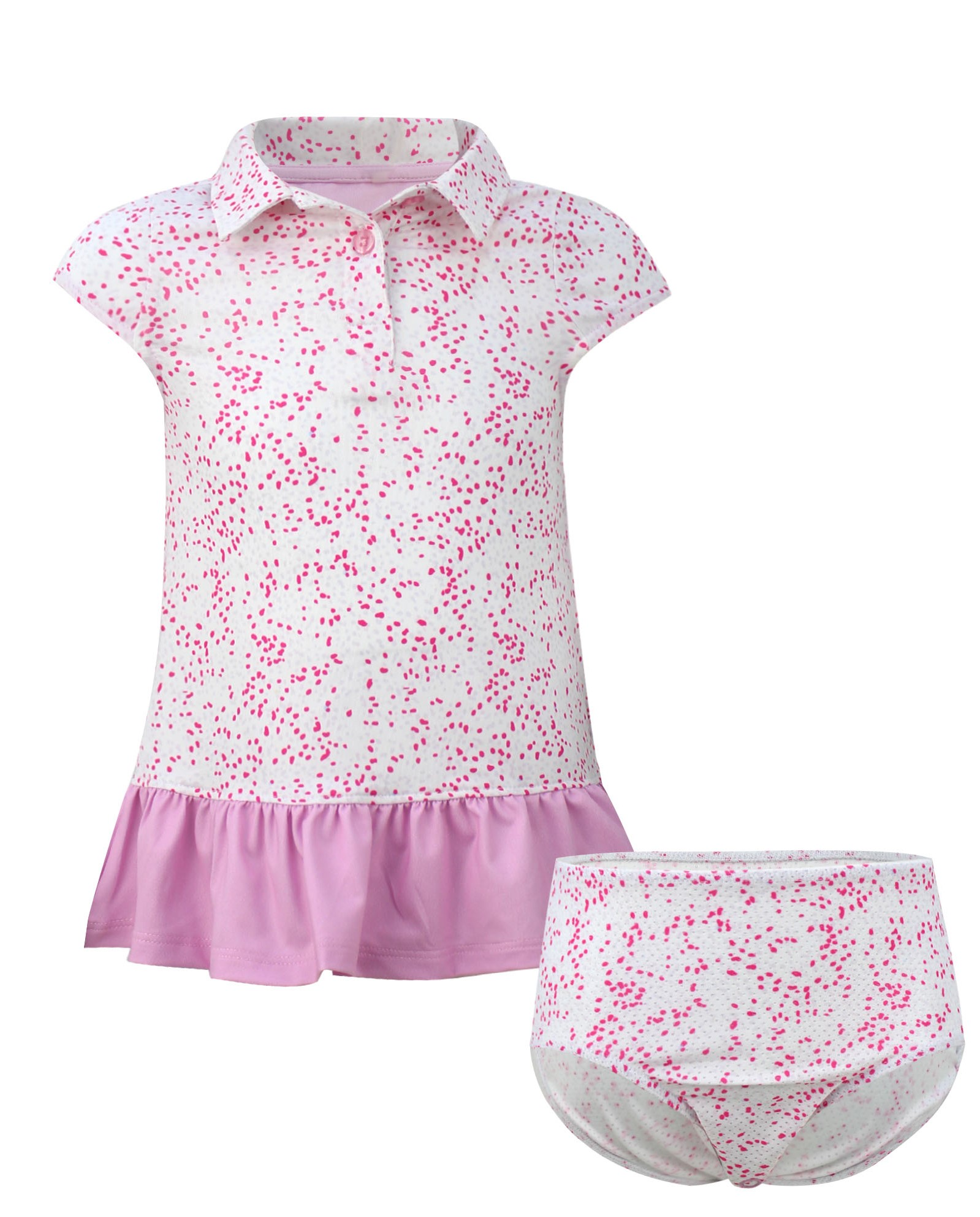 Avery Girls Short Sleeve Infant & Toddler  Golf And Tennis Dress In Pink Spot the Hole Print