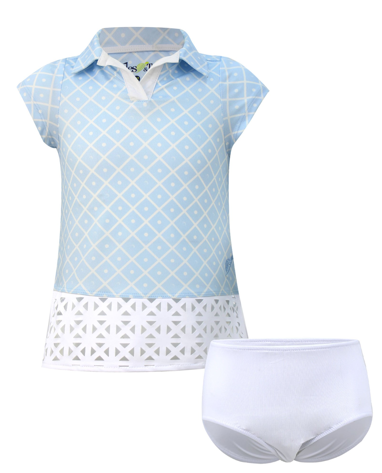 Charlotte  Short Sleeve Infant & Toddler  Golf And Tennis Dress In Blue Diamond On The Green Print