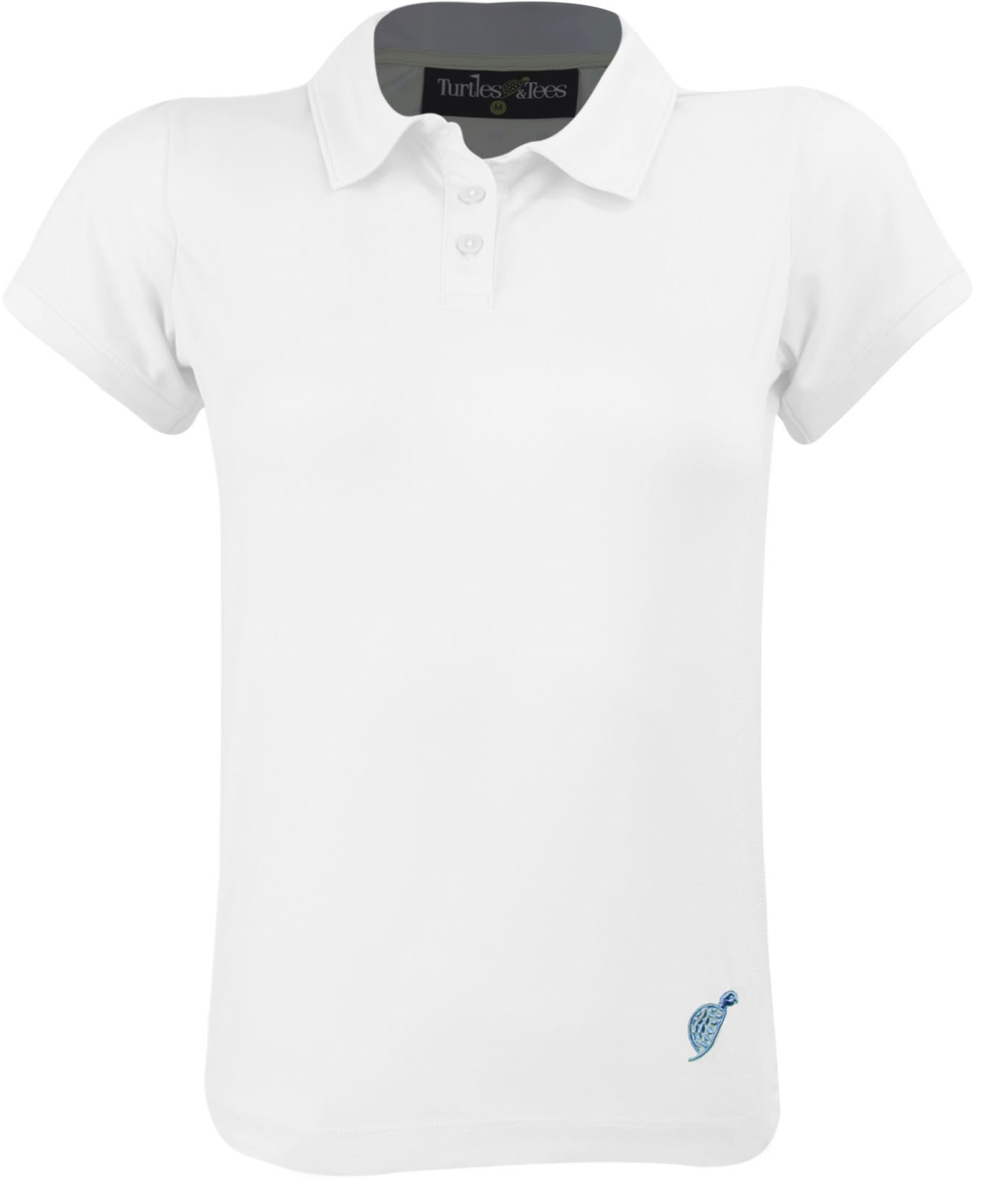 Girls Cap Sleeve Polo Shirt White/Blue Waves