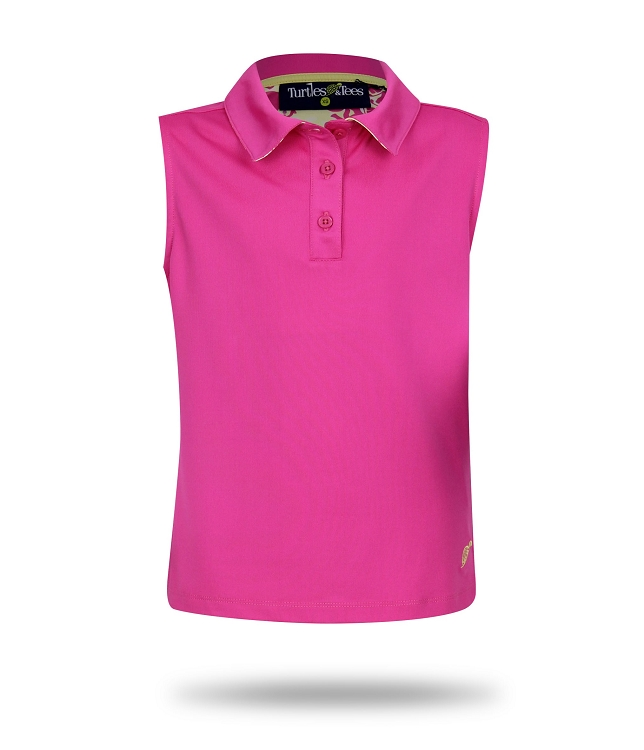 Sleeveless Polo-Pink with Dots In One or Take a Swing Print