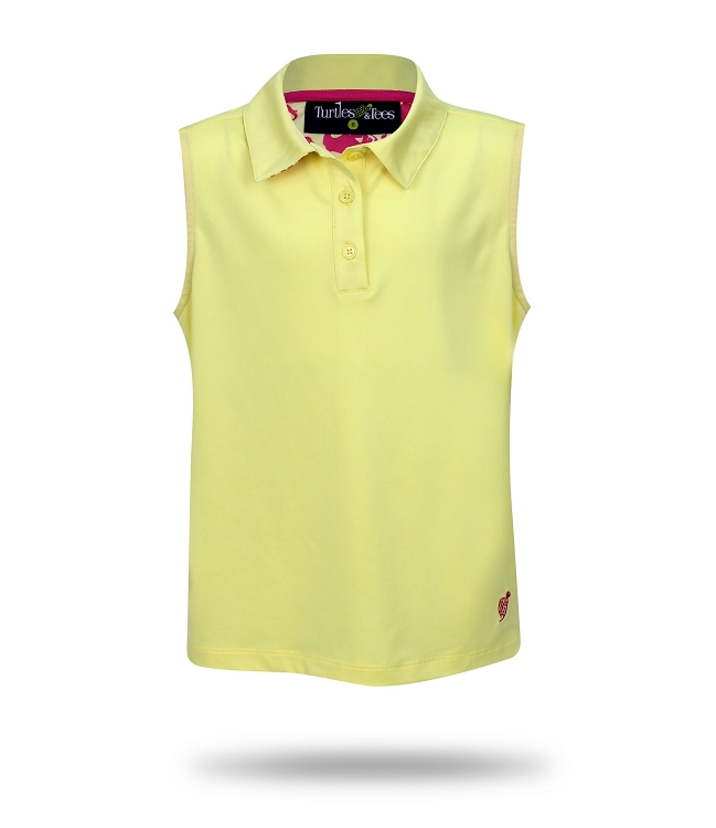Sleeveless Polo-Yellow with Take a Swing Print