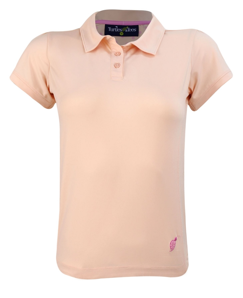 Girl's Cap Sleeve Polo Shirt Tangerine/Hot Dotty