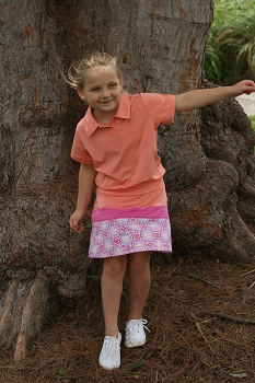 Ayla Colorblock  Girl's Golf & Tennis Skort in Melon & Pink Medalion Print