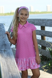 Avery Girl's Short Sleeve Golf and Tennis Dress in PinkHotDotty Print