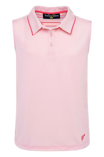 Girl's Sleeveless Polo Pale Pink