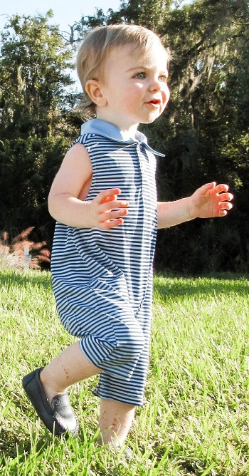 Preston Infant & Toddler Romper -Blue Stripe
