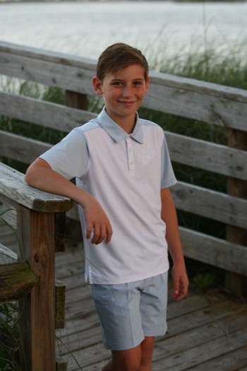 Boy's Polo Shirt White/Blue