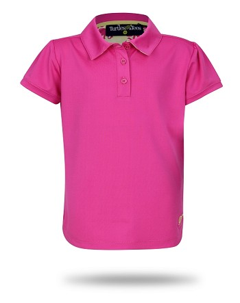 Cap Sleeve Polo-Pink with Dots In One